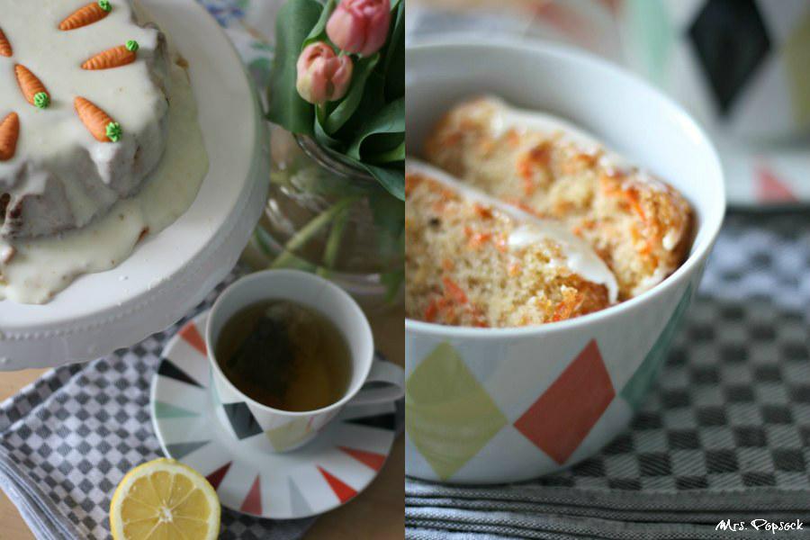 Karottenkuchen und eine Tasse Tee